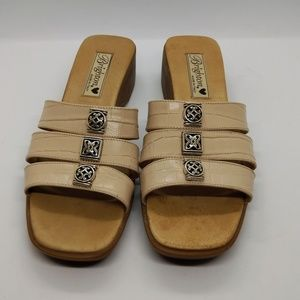 "Brighton Cream Brandy Sandals Size 8 1/2"" N"
